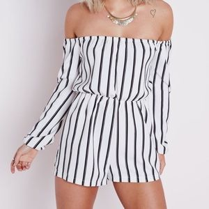 Missguided striped romper off the shoulder